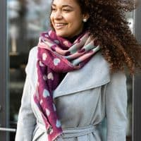 POM Peace Of Mind Reversible Scarf with Jacquard Hearts in Cherry and Pastel Multi Colour